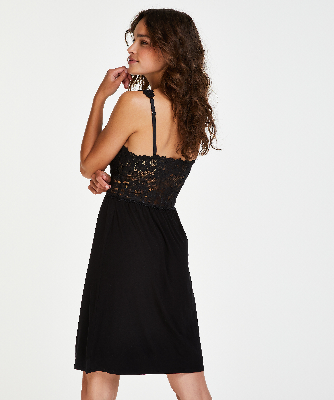 Vestido lencero Nora Lace, Negro, main