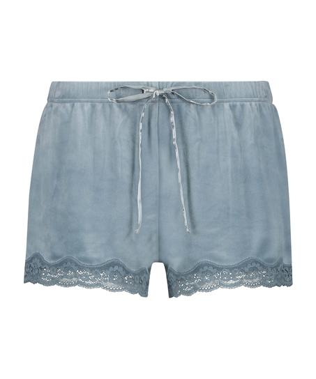 Pantalón corto de terciopelo y encaje, Azul