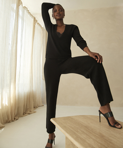 Premium Pantalones largos de punto, Negro