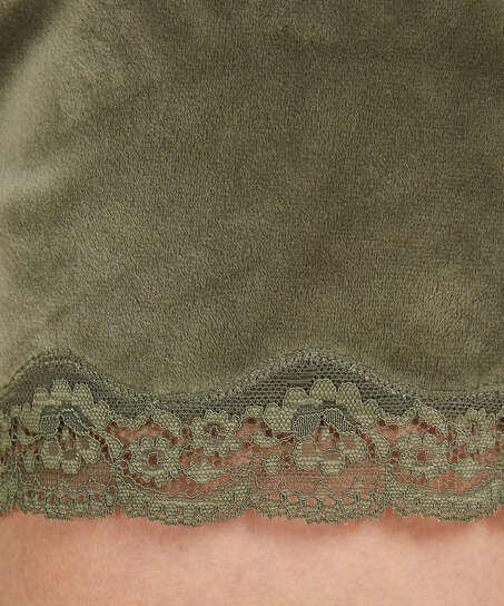 Pantalón corto de terciopelo y encaje, Verde