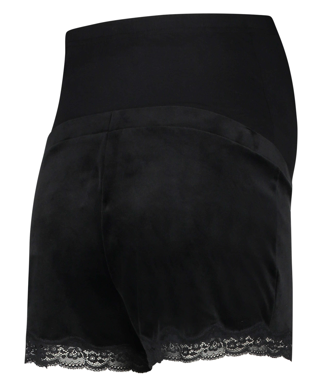 Pantalón corto premamá de terciopelo, Negro, main