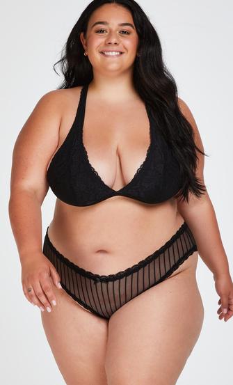 Brasileña en forma de V burn-out mesh, Negro