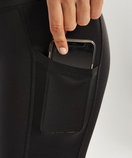 Capri de rejilla y cintura alta de nivel 2 de HKMX, Negro
