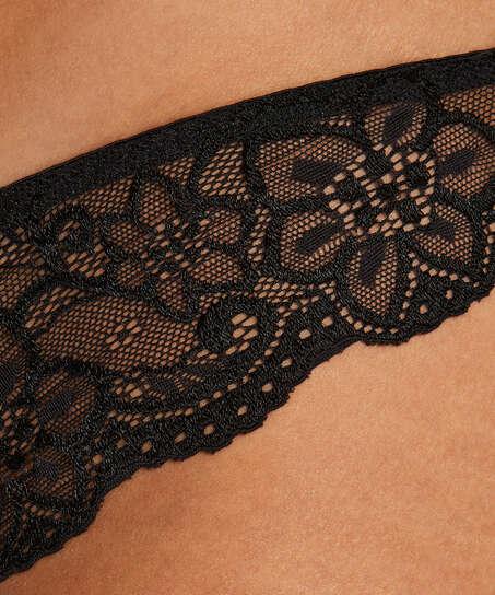 Brasileña Rosie wetlook lace, Negro