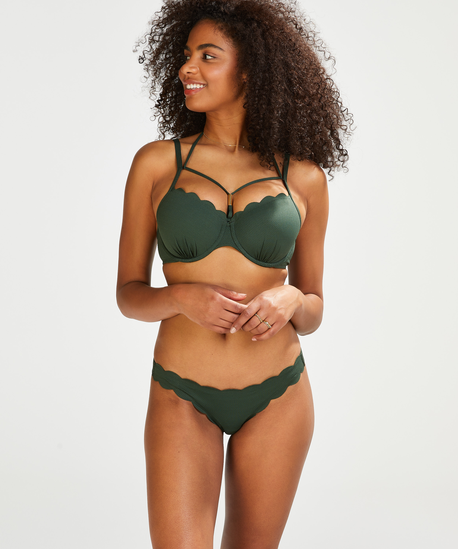 Top de bikini de aros preformado Scallop Glam, Verde, main