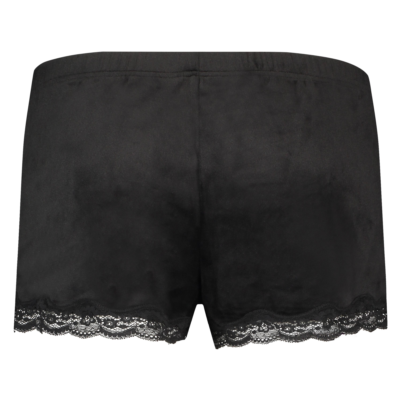 Pantalón corto de terciopelo y encaje, Negro, main