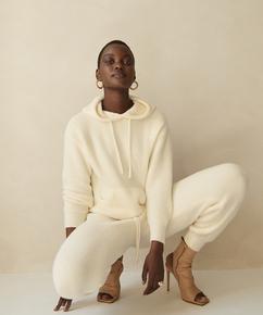 Premium Sudadera con capucha manga larga Fluffy, Blanco
