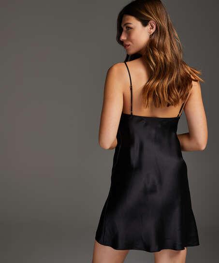 Vestido combinación de satén y encaje, Negro