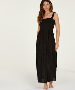 Vestido largo fruncido, Negro
