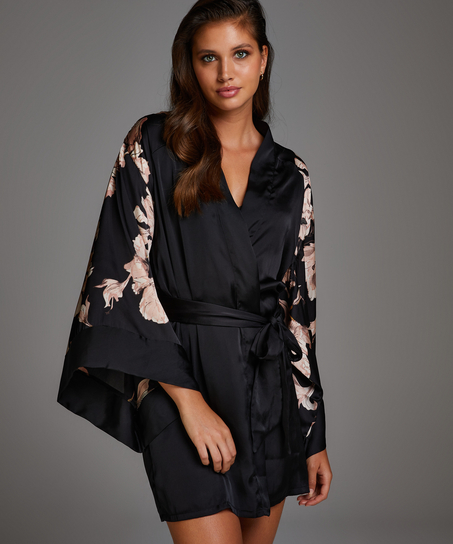 Kimono Satin Bloom, Negro