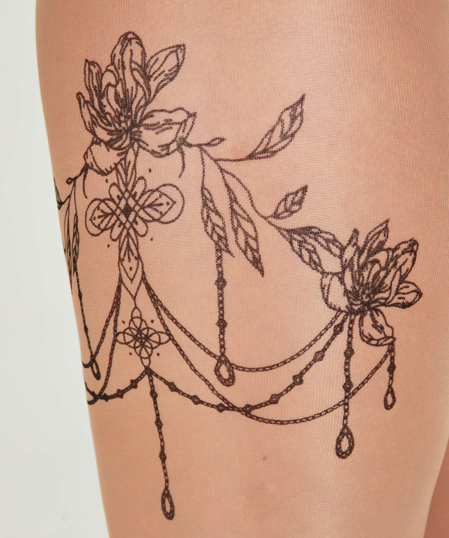 Panti 15 Denier Pierna Tatuaje, Beige, main