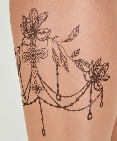 Panti 15 Denier Pierna Tatuaje, Beige