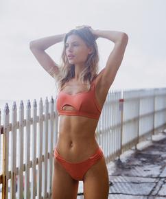 Pantalón de bikini de corte alto Bonita, Naranja