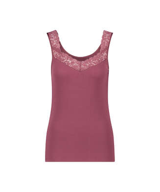 Camiseta sin mangas de punto y encaje, Rojo