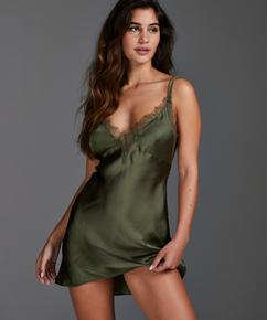 Vestido lencero satinado Lily, Verde