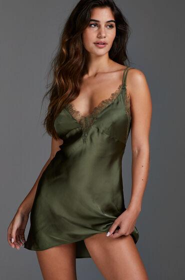 Hunkemöller Vestido lencero satinado Lily Verde