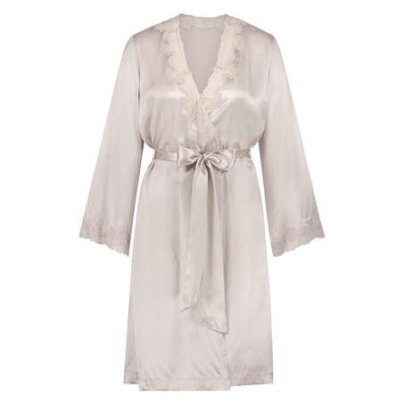 Kimono de seda y encaje trim, Rosa