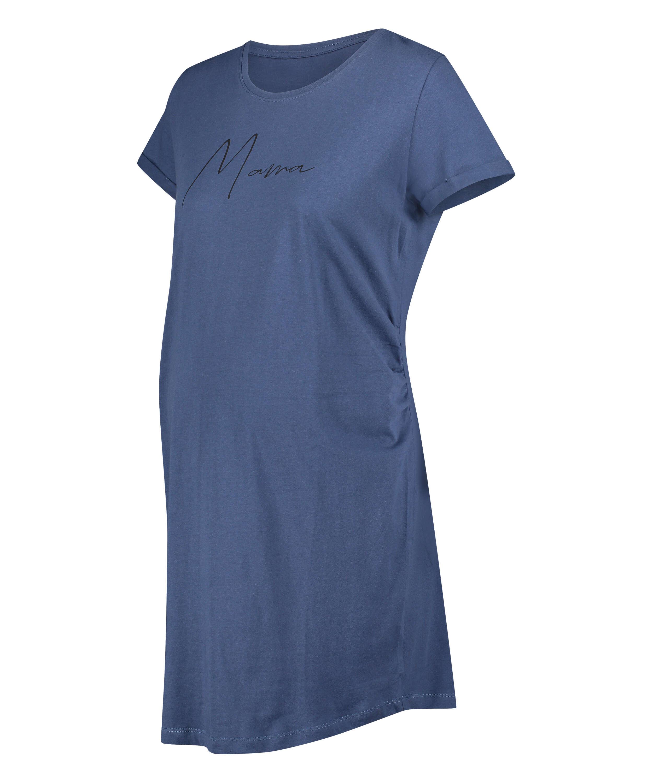 Camisón premamá de manga corta, Azul, main