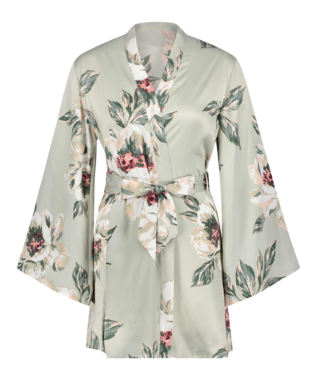Kimono de satén estampado, Azul, main