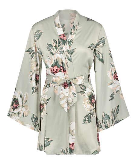 Kimono de satén estampado, Azul