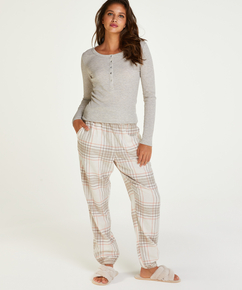Top de pijama de manga larga, Beige