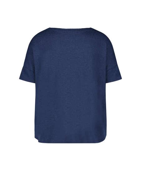 Top de pijama de mangas cortas Brushed Jersey, Azul