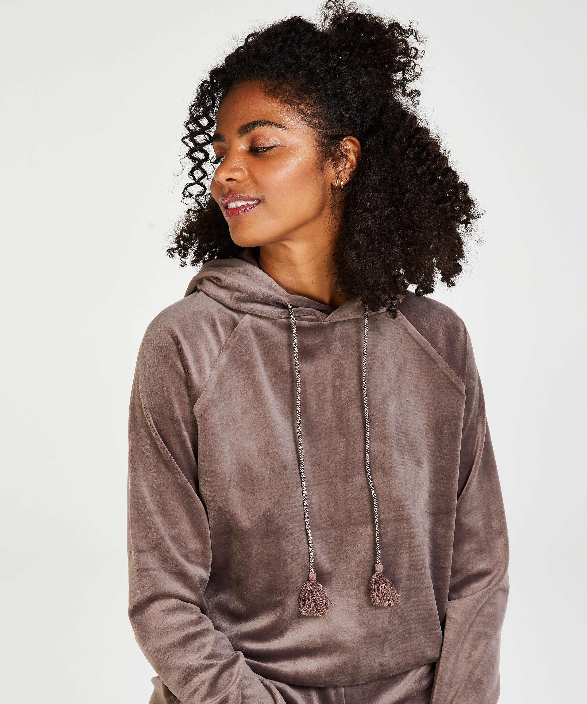 Sudadera con capucha de terciopelo, marrón, main