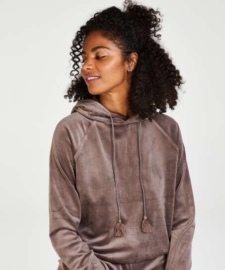 Sudadera con capucha de terciopelo, marrón