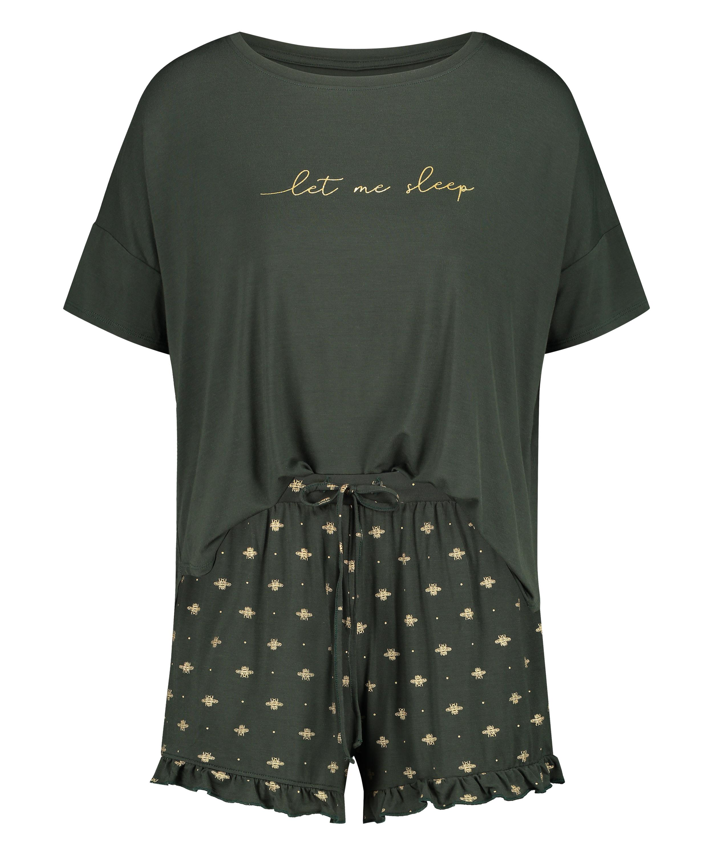 Conjunto de pijama corto, Verde, main