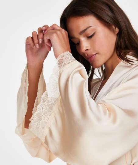 Kimono de satén meili, Beige