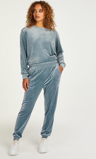 Petite Pantalón para correr de terciopelo Pintuck, Azul