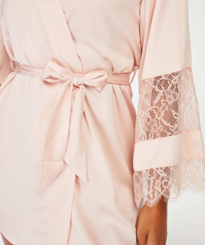 Kimono de satén y encaje, Rosa, main