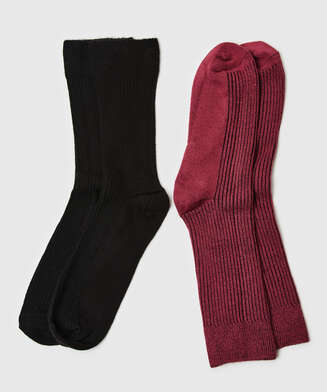 2 pares de calcetines Rib Soft Touch, Rojo