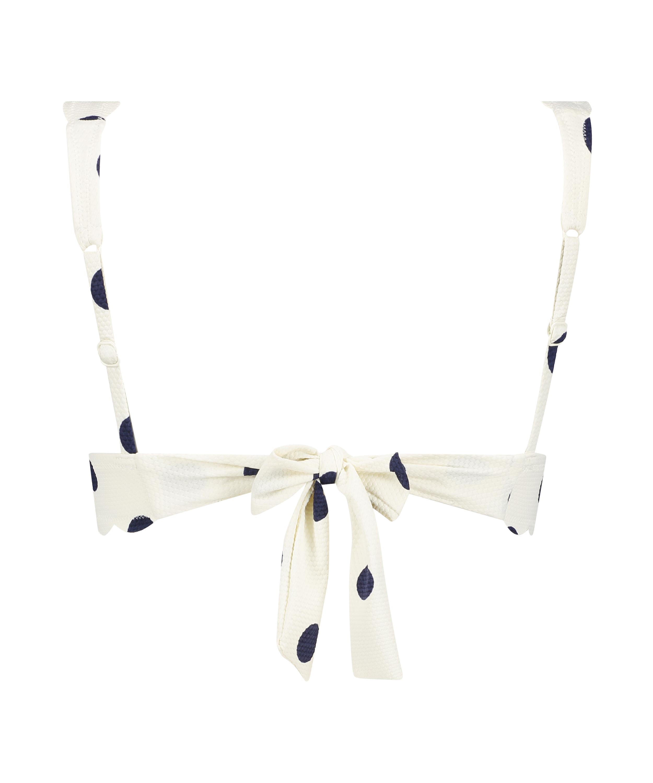 Top de bikini de triángulo Scallop Dot, Blanco, main