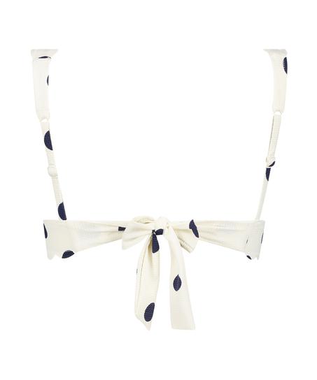 Top de bikini de triángulo Scallop Dot, Blanco