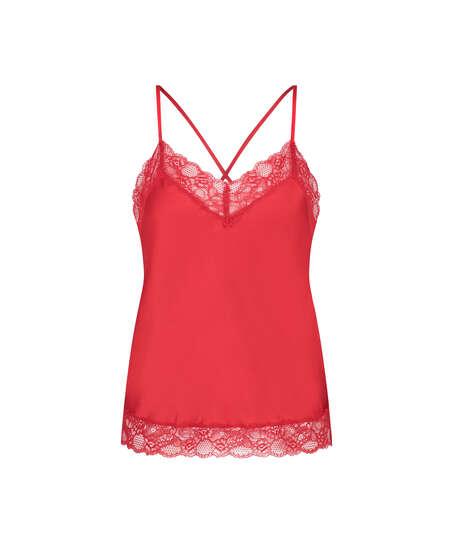 Camiseta top Satin Lace, Rojo