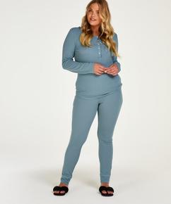 Pijama Waffle Placket, Azul