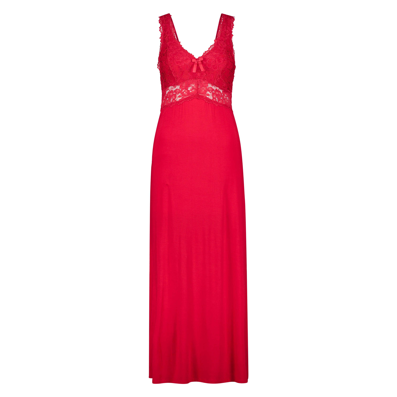 Vestido lencero Nora Lace Long, Rojo, main