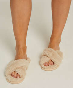 Zapatillas Fake Fur, Beige