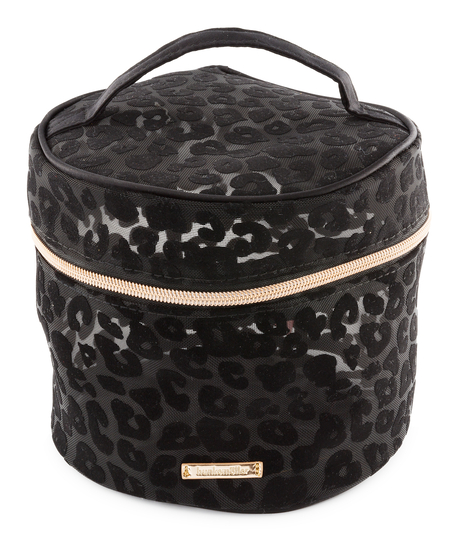 Neceser de maquillaje rejilla Leopard grande, Negro