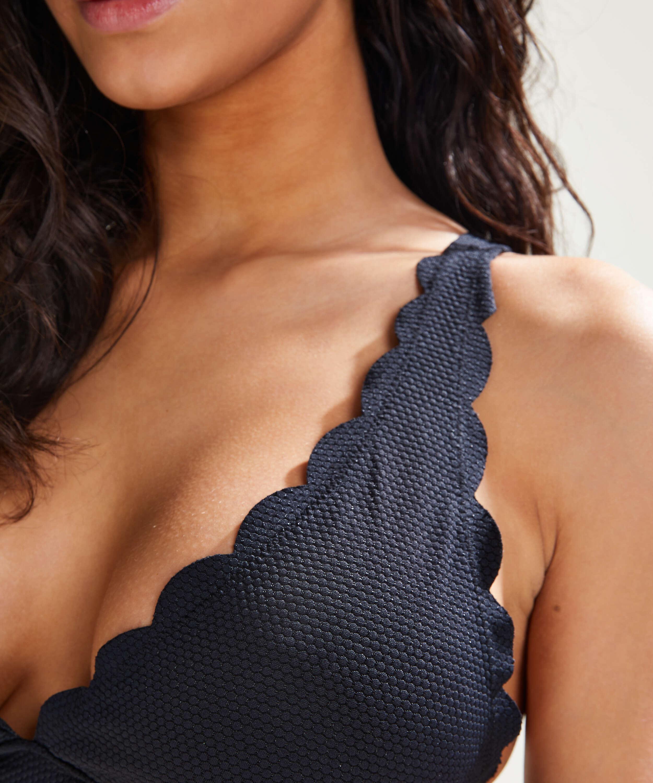 Top de bikini triangular Scallop, Negro, main