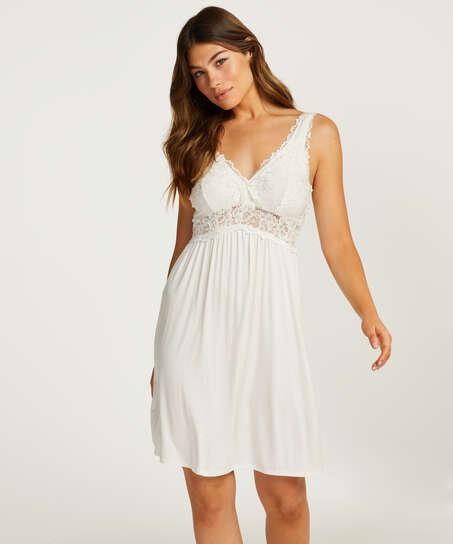Vestido combinación Modal Lace, Blanco