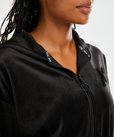 Chaqueta deportiva HKMX de terciopelo, Negro