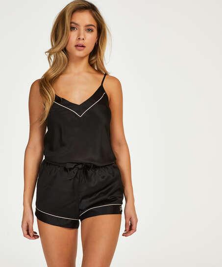 Pantalón corto de pijama satin lace, Negro