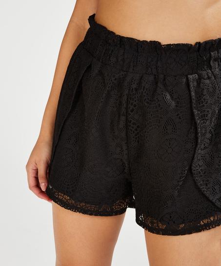 Shorts de encaje, Negro