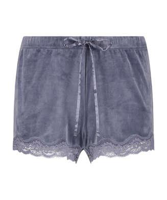Pantalón corto de terciopelo y encaje, Gris