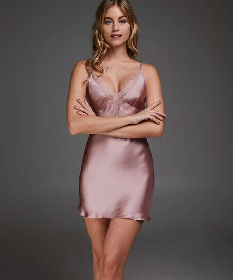 Vestido combinación satinado Lily, Rosa