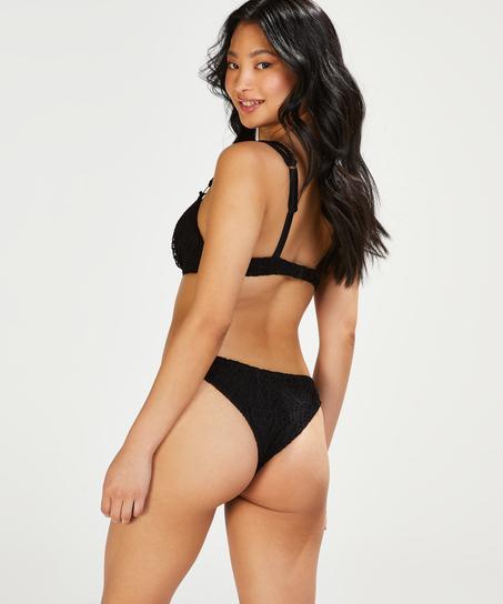 Top de bikini push-up con aros preformado Crochet Copa A - E, Negro
