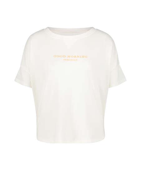 Top de pijama de mangas cortas Brushed Jersey, Blanco