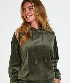 Sudadera con capucha de terciopelo, Verde